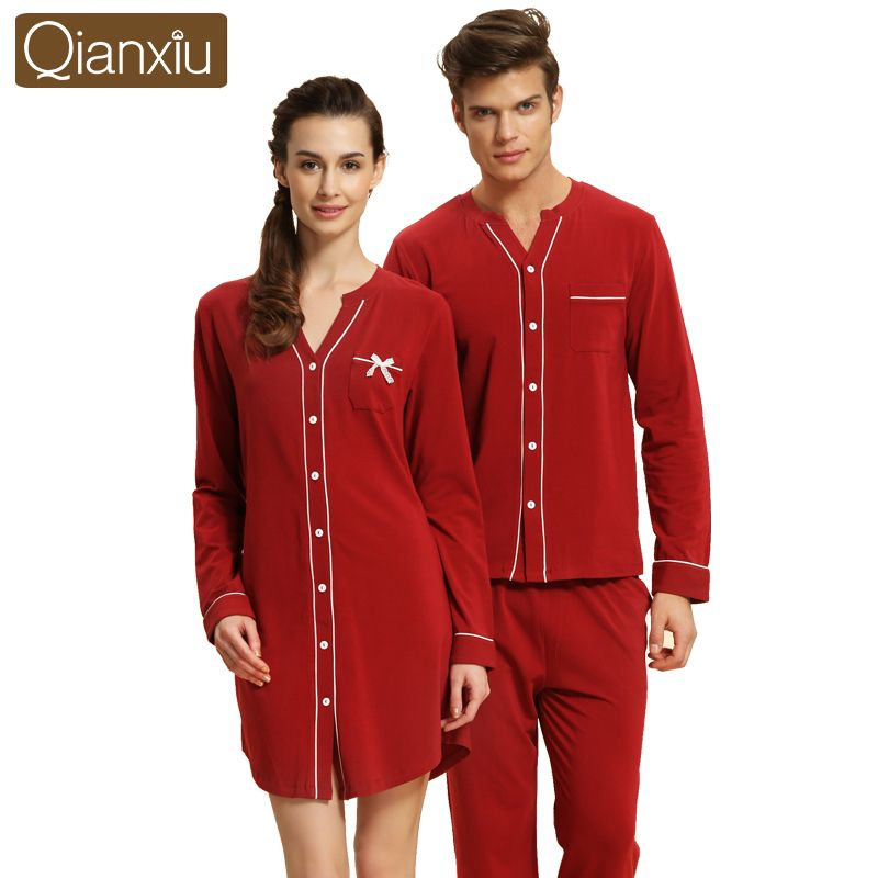 Buy Now! Qianxiu Brand Autumn Couple Pajamas Sets Long ...