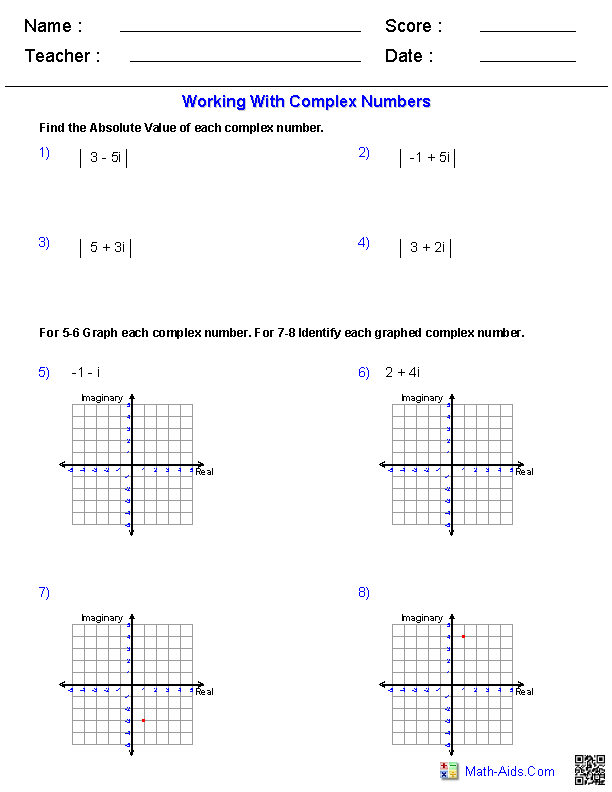 Complex Numbers Worksheets Algebra 2 Worksheets | Math-Aids.Com ...