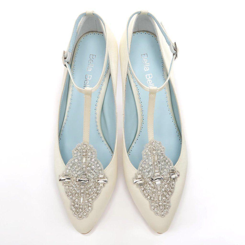 Comfortable ivory wedding shoe low heel vintage inspired crystal