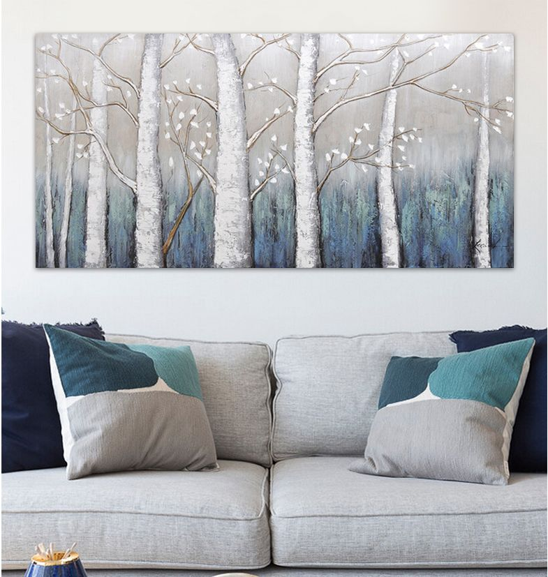 White Birch Forest Oil Painting For Living Room Tree Moderno Long Scenery Canvas Art Wall Home Decor Quadros