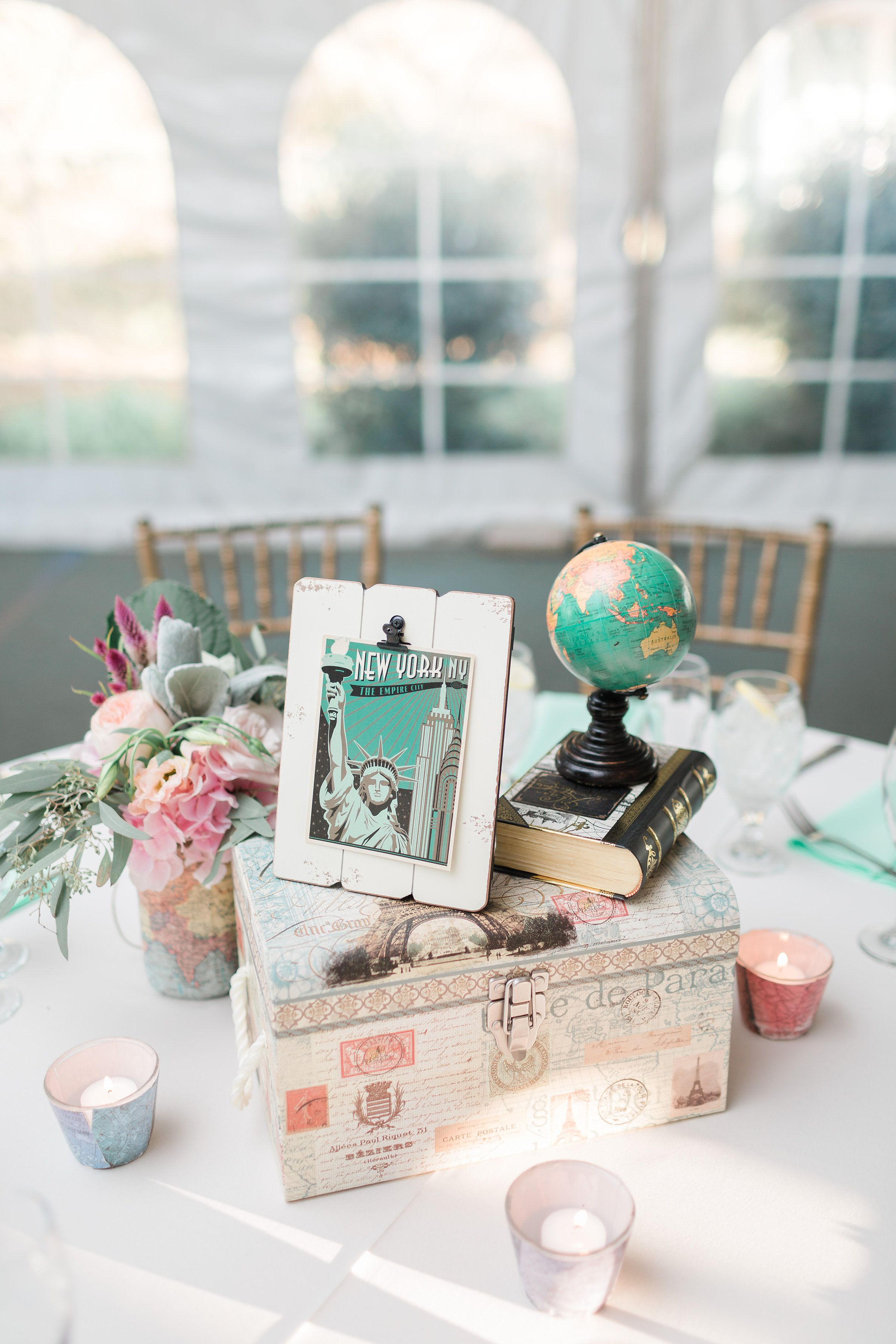 Rustic blush and peach travel-themed wedding centerpiece with ...