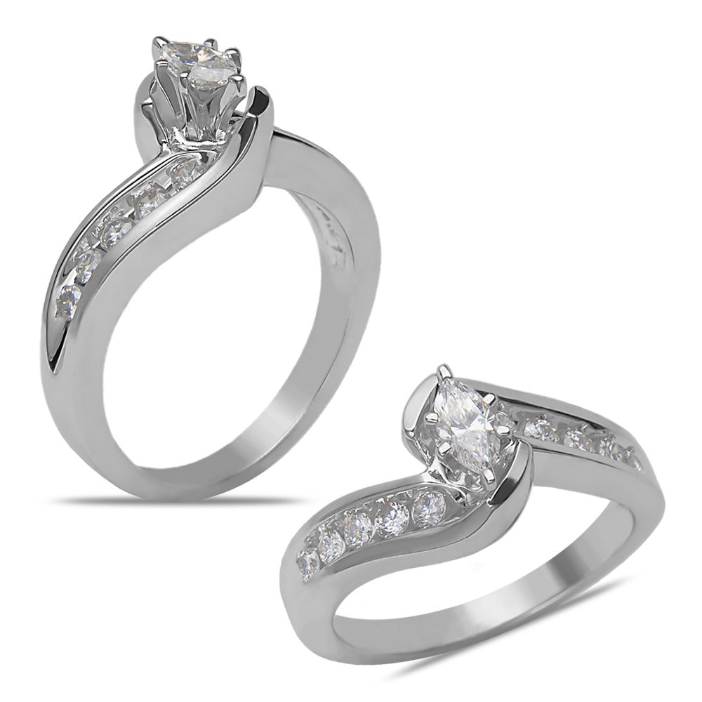 Ebay NissoniJewelry presents - Ladies' 1/2CT Diamond Bridal Set with 1/5CT Marquise Center in 14k White Gold    Model Number:LST7171H-W477    http://www.ebay.com/itm/Ladies-1-2CT-Diamond-Bridal-Set-with-1-5CT-Marquise-Center-in-14k-White-Gold/221630541458
