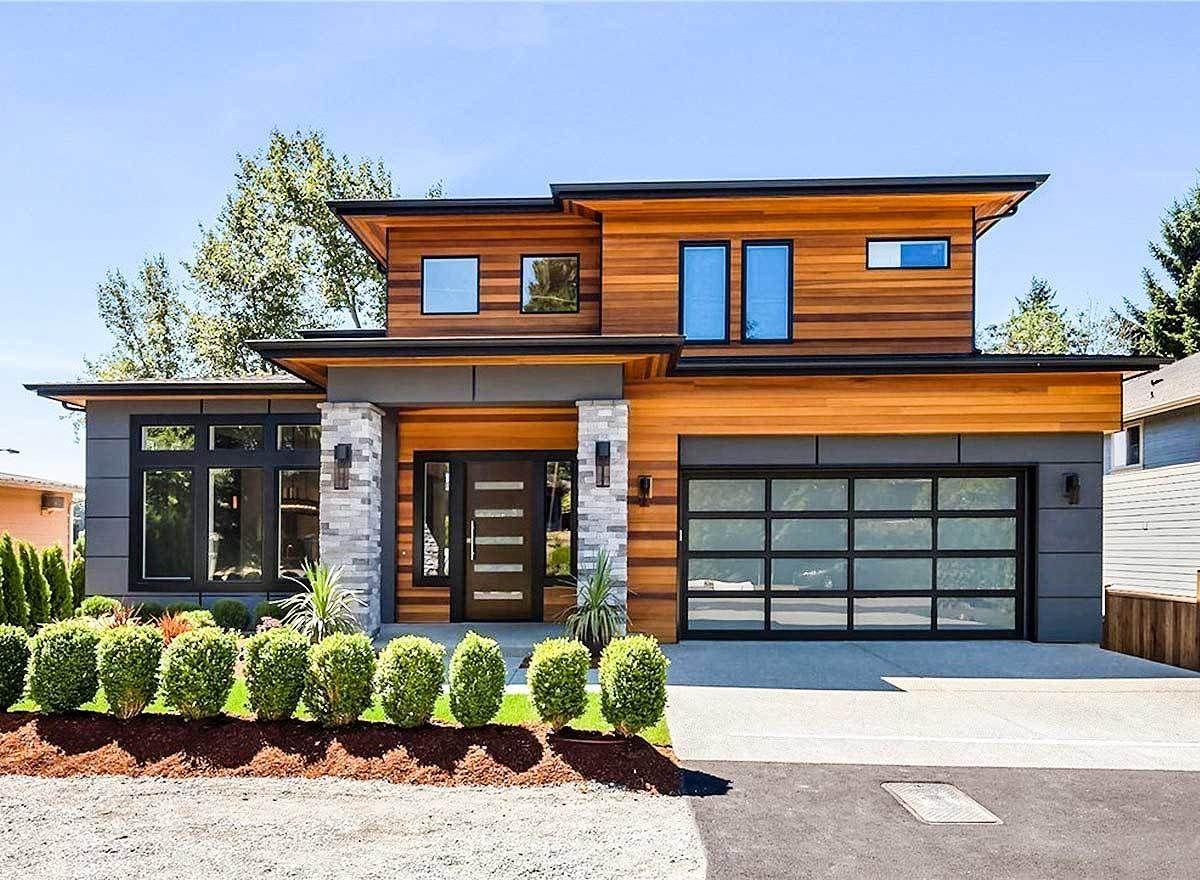 Modern Prairie House Plan with Tri Level Living
