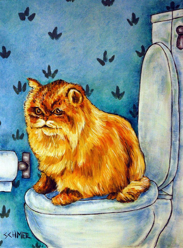 Chinchilla persian cat bathroom picture art print 11x14  artist  animals