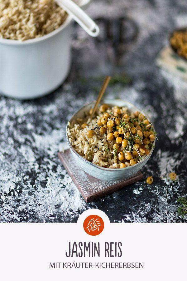 Jasminreis mit Kräuterkichererbsen. Eine köstliche und vegane Reiskreation. Gut...   - Vegane Reis Küche | REISHUNGER -