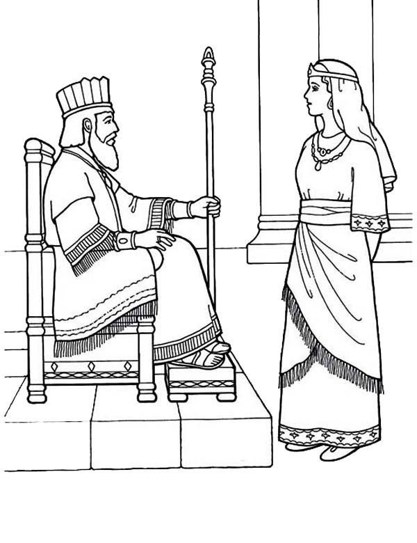 Queen Esther Became Kings Lovely Queen Coloring Page | Colouring ...