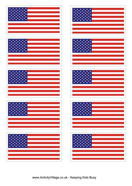 Vibrant image for printable united states flags