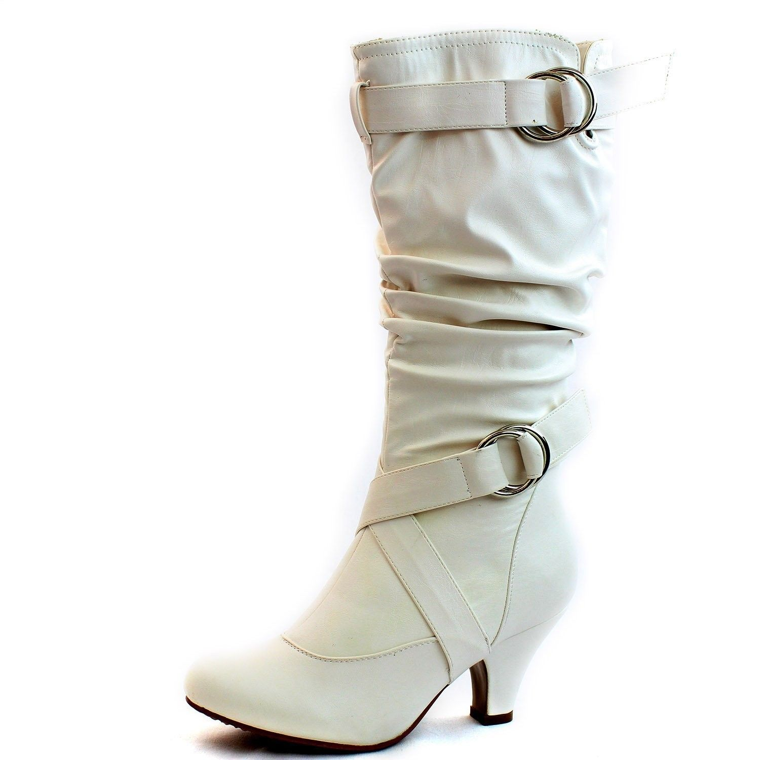 Women S Mid Calf Buckle Strap Pu Leather Comfortable Kitten Heel Knee High Boots Fashion Shoes White Cq11b169ulj Womens White Boots Comfortable Stylish Shoes Knee High Boots