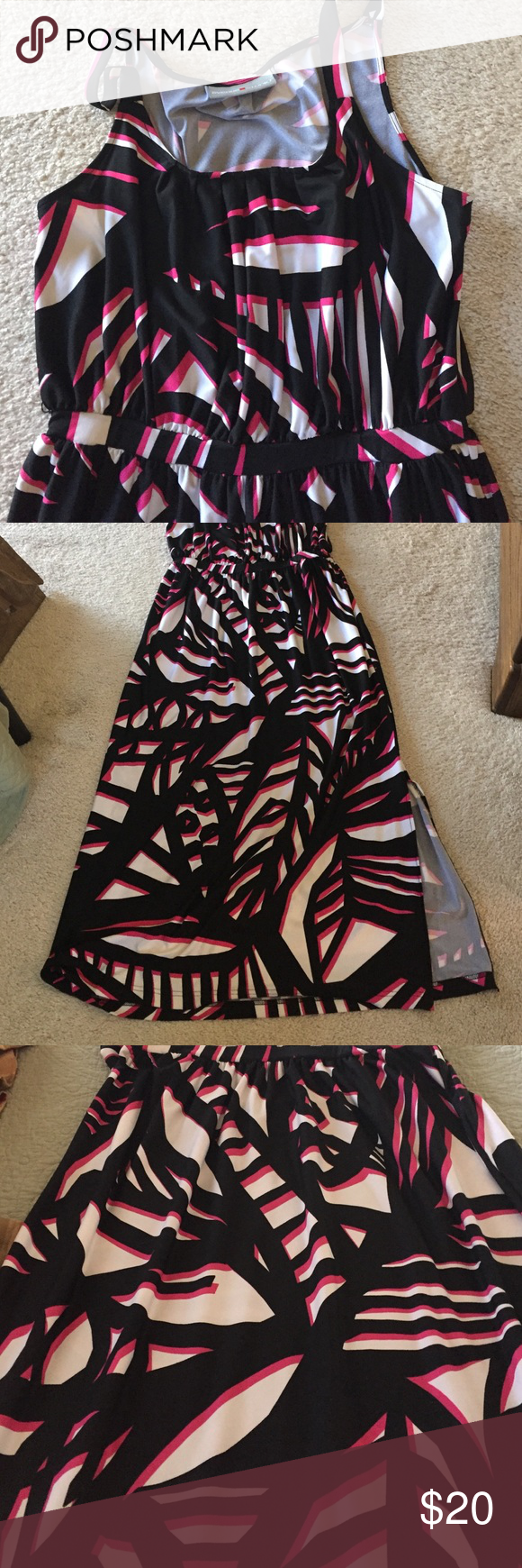 "Avenue Maxi Dress NWOT. 95% Polyester 5% Spandex. Slit on one side of leg.  Waist line to bottom is 39"" Smoke Free Home. Size is not on dress fits 14/16 Avenue Dresses Maxi"