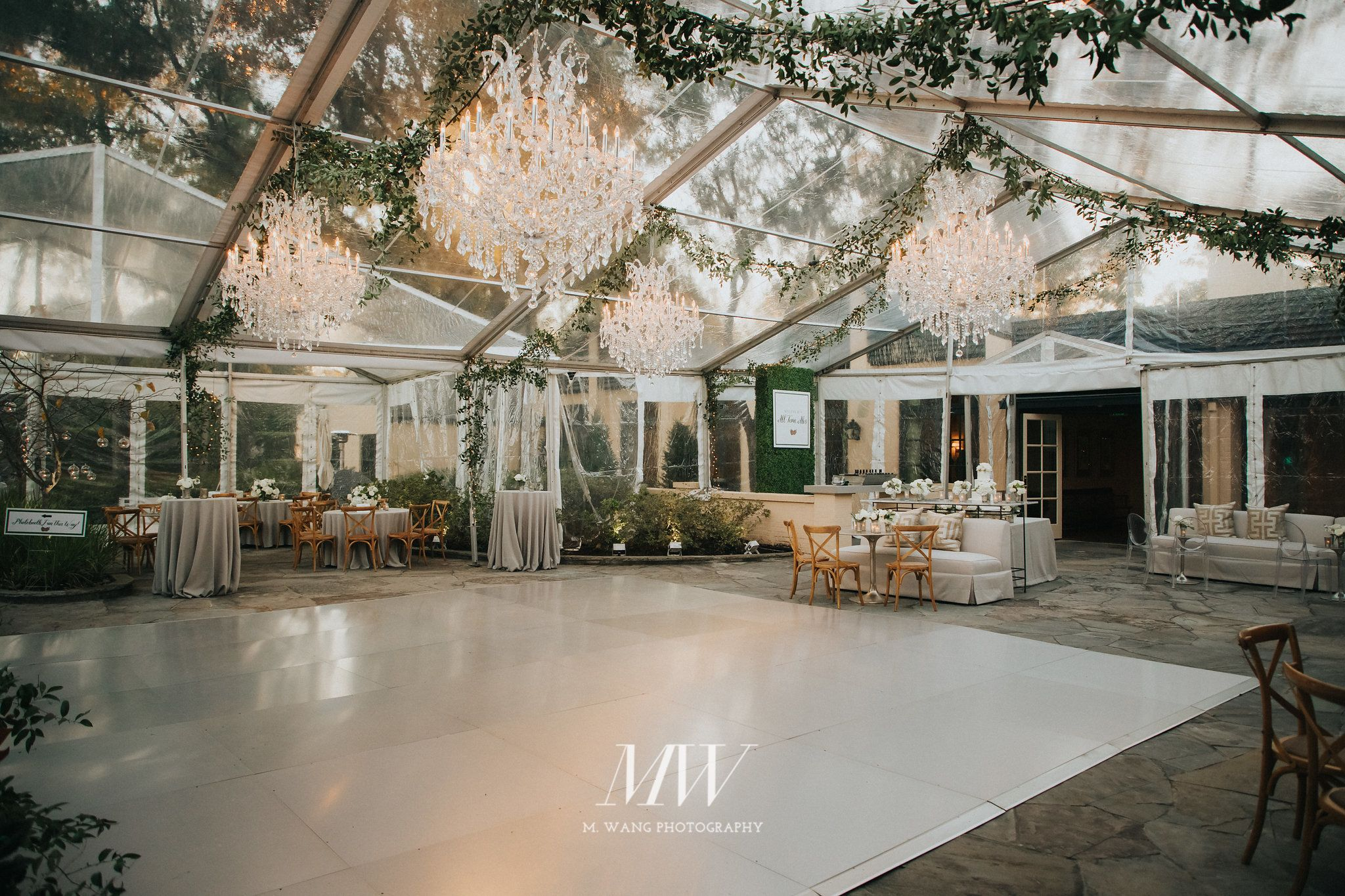 Clear tent with dance floor. House styles