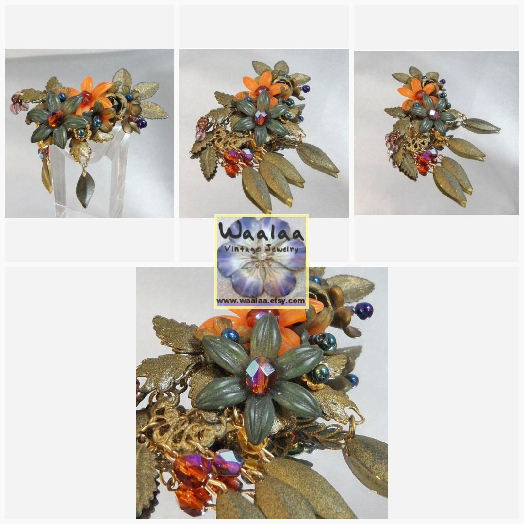 172356f54b1 Colleen Toland Flower Brooch. Dangling Crystals and Leaves. Rhinestones.  Flowers