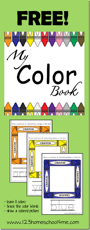 free printable my color book - Color Books For Kindergarten