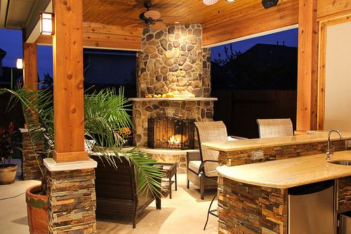 Patio Cover With Outdoor Fireplace And Outdoor Kitchen In Firethorne Katy Tx Outdoor Fireplace Designs Outdoor Rooms Outdoor Fireplace