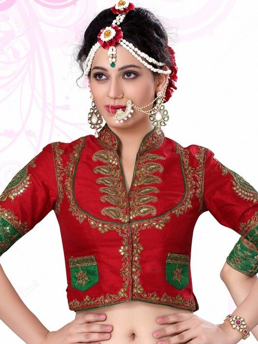 Shop Red Raw Silk Nice Designer Ready Made Blouse Online From