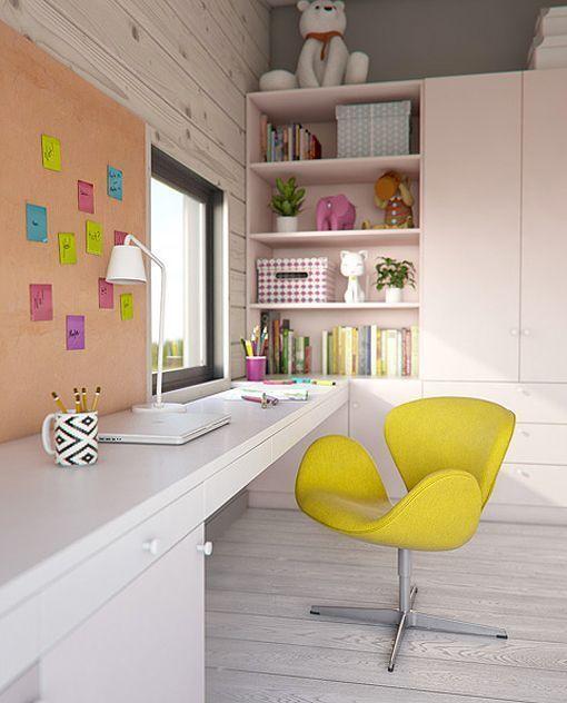 Dormitorio juvenil en la buhardilla zona de estudio for Muebles juveniles zona sur