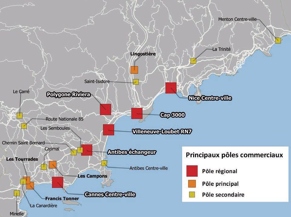 Les principaux pôles commerciaux des Alpes-Maritimes Source: CCINCA 2016