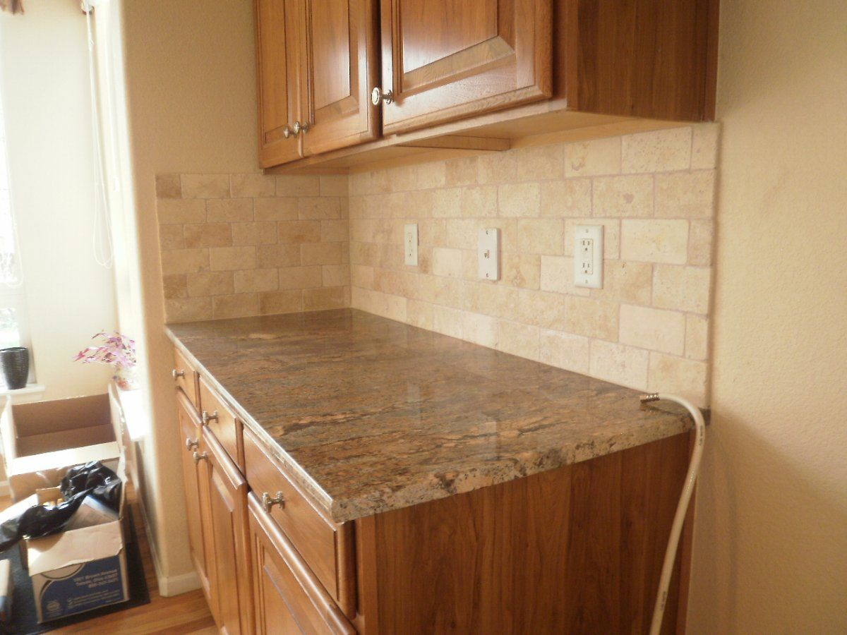 Classic Kitchen Style Ideas with Brown Tumbled Stone Subway Tile ...