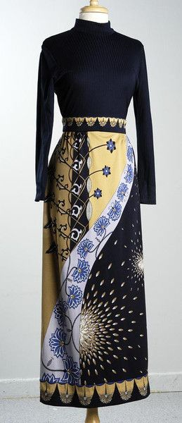 1970's Paganne by Gene Berk Psychedelic Maxi Dress, Medium