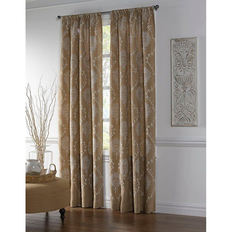 Cloud9 Design Jute Curtain Panel With Medallion Embroidery