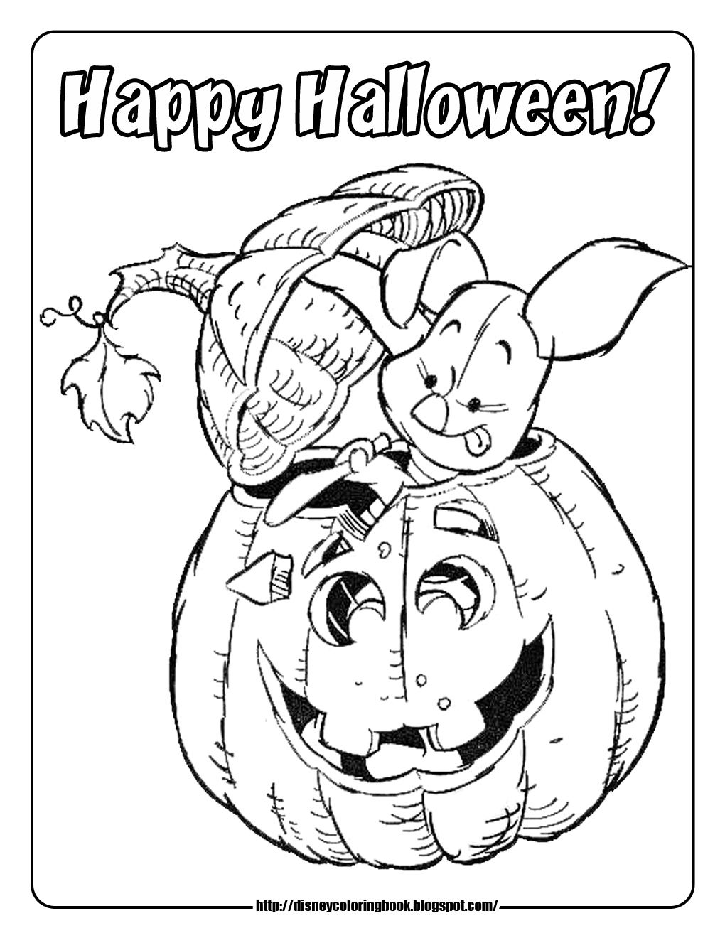 Halloween coloring pages Piglet carving pumpkin | Halloween color ...