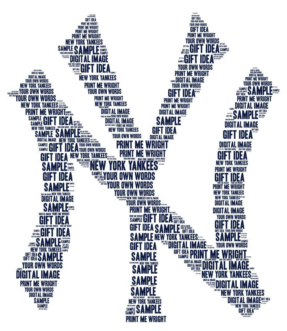 Personalised Word Art New York Yankees Design Digital Image Great Gift For Father S Day Birthday Baseball Fa Personalized Word Art Word Art Word Art Design