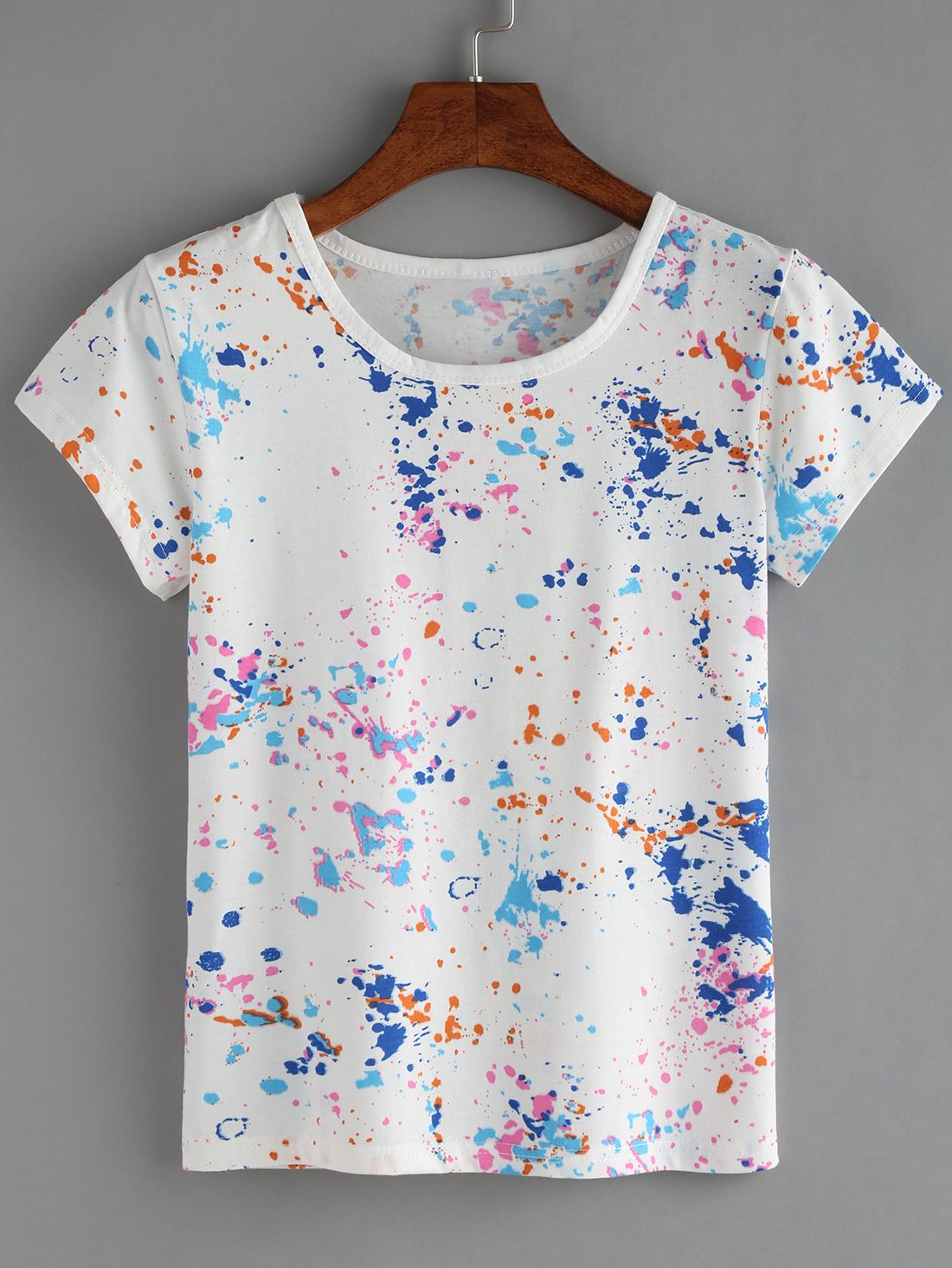 Shop Colorful Paint Splash T-shirt online. SheIn offers Colorful Paint  Splash T-shirt   more to fit your fashionable needs. 05a8b15a37c