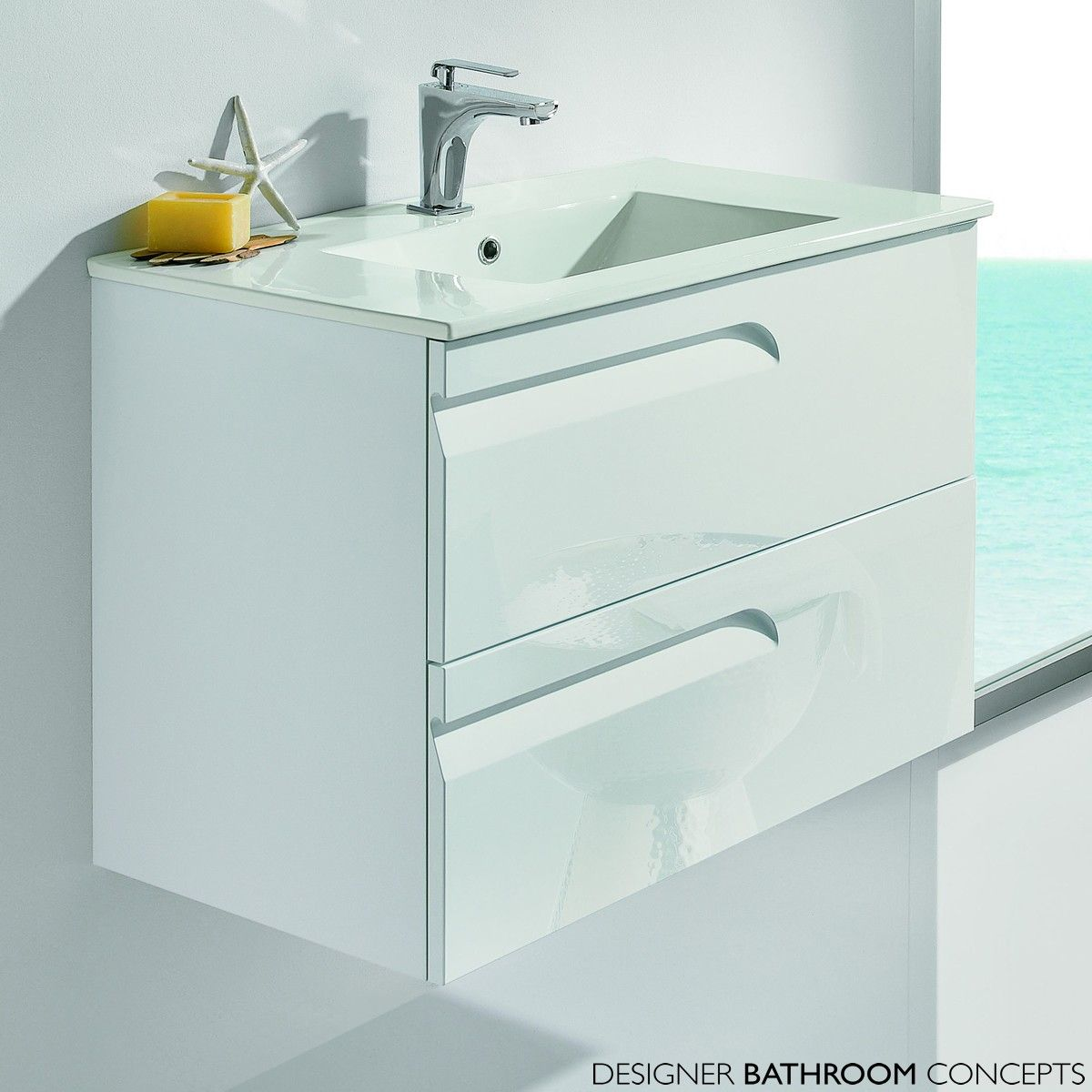 Vitale Designer 800mm Gloss White Bathroom Vanity Unit - Main Image