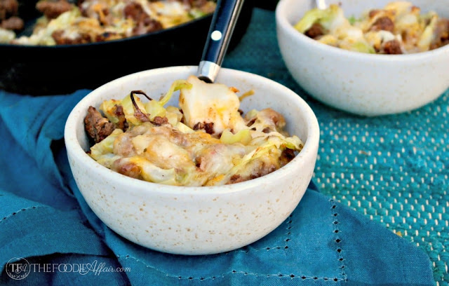 Photo of TEX MEX CABBAGE BEEF SKILLET RECIPE TOPPED WITH SPICY MEXICA…