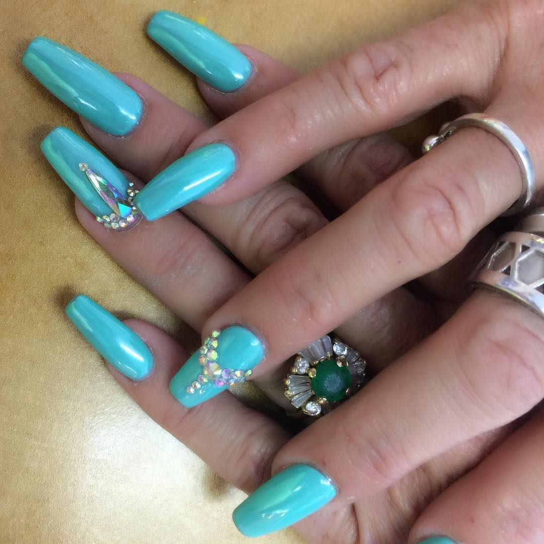 Coffin Acrylic and Chrome Design. LT Nails. Chatsworth. Dipping ...