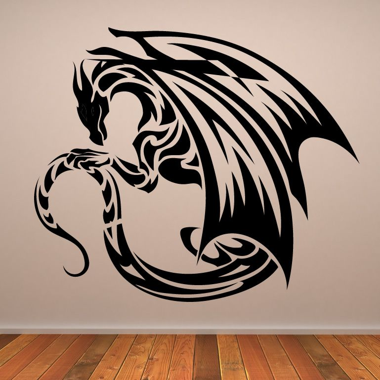 winged dragon design wall art sticker wall decals mythical creatures fantasy - Wall Art Design Decals