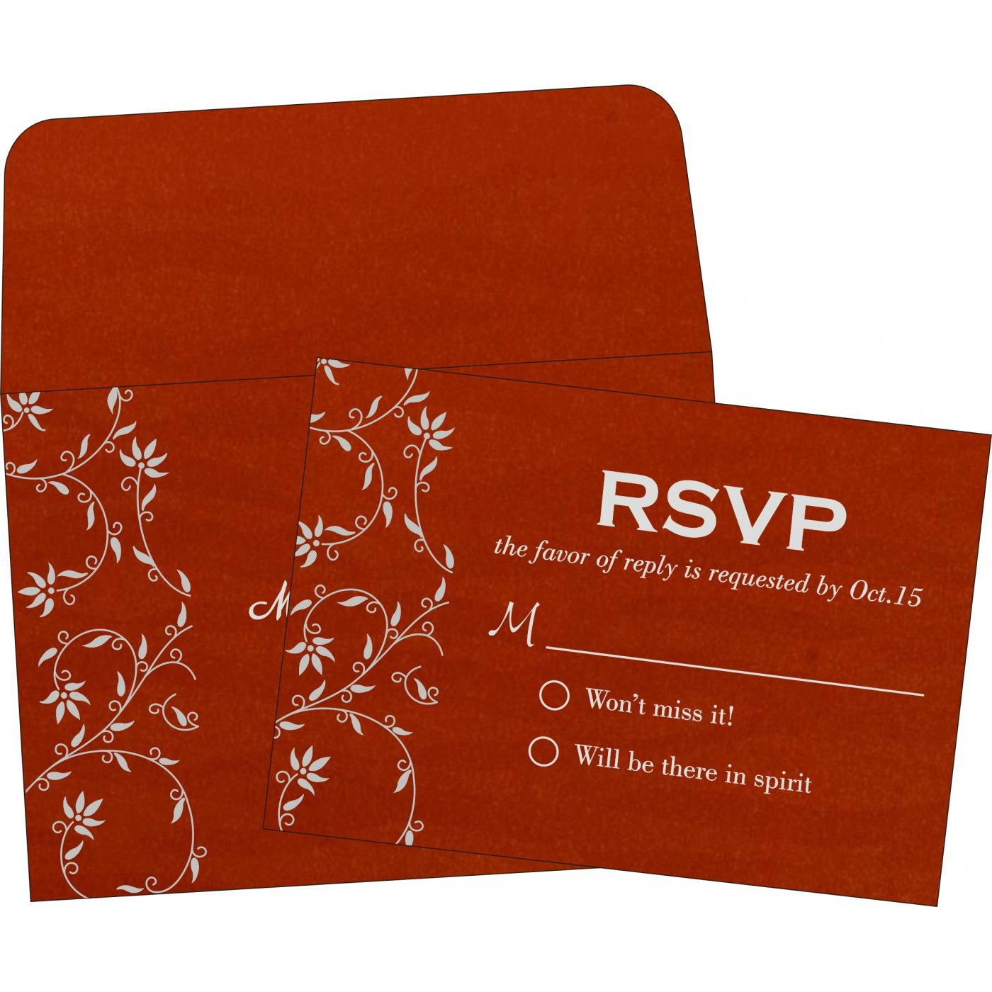 Red shimmery floral themed - screen printed wedding invitations : in ...
