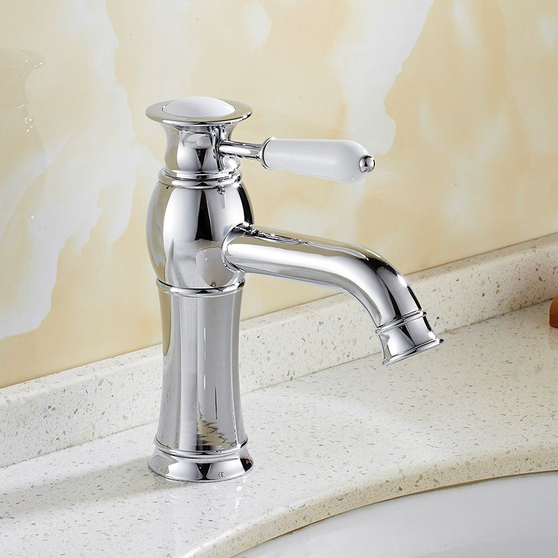 Vintage Gold Counter Top Basin Water Faucet Classic Porcelain Single ...