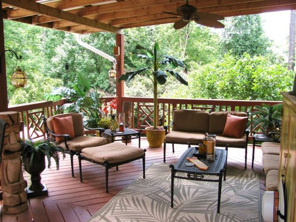Lanai design tropical lanai we covered part of our deck for Small lanai decorating ideas