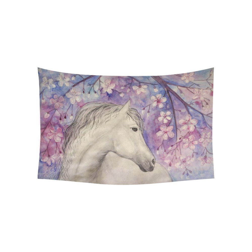 Interestprint floral wall art home decor white beautiful horse