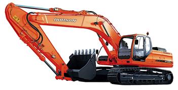 """Excavadora DX340LC. Motor DOOSAN, modelo DLO8, de 6 cilindros, turboalimentada con sistema """"Common Rail"""" con sistema electrónico E-POS. TIER 3.  Potencia de 247 HP a 1,750 rpm, torque máximo 117 Kgf.m a 1300 rpm.  Zapatas de 600 mm, stick de 3.2 mts y boom de 6.5 mts. Profundidad de excavación de 7.53 mts y 11.17 mts de alcance máximo. Balde con capacidad de 1.25-1.83 metros cúbicos. Fuerza de excavación en el balde de 24.500 kgf. Peso operacional de 34.100 kg."""