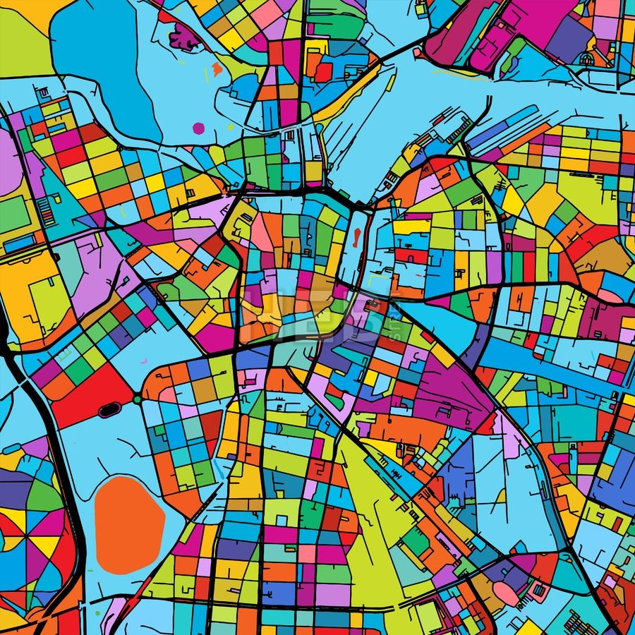 Leipzig, Germany Colorful Vector Map on Black | Map vector ...