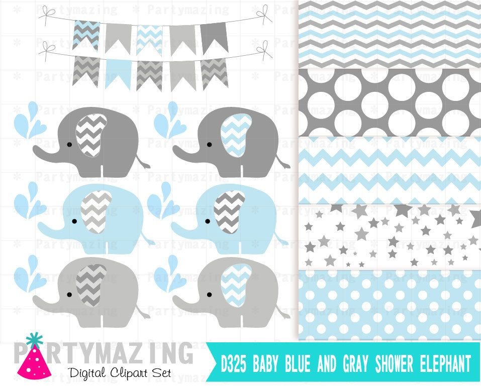 New from Partymazing on Etsy: Baby Blue Elephant Digital ...