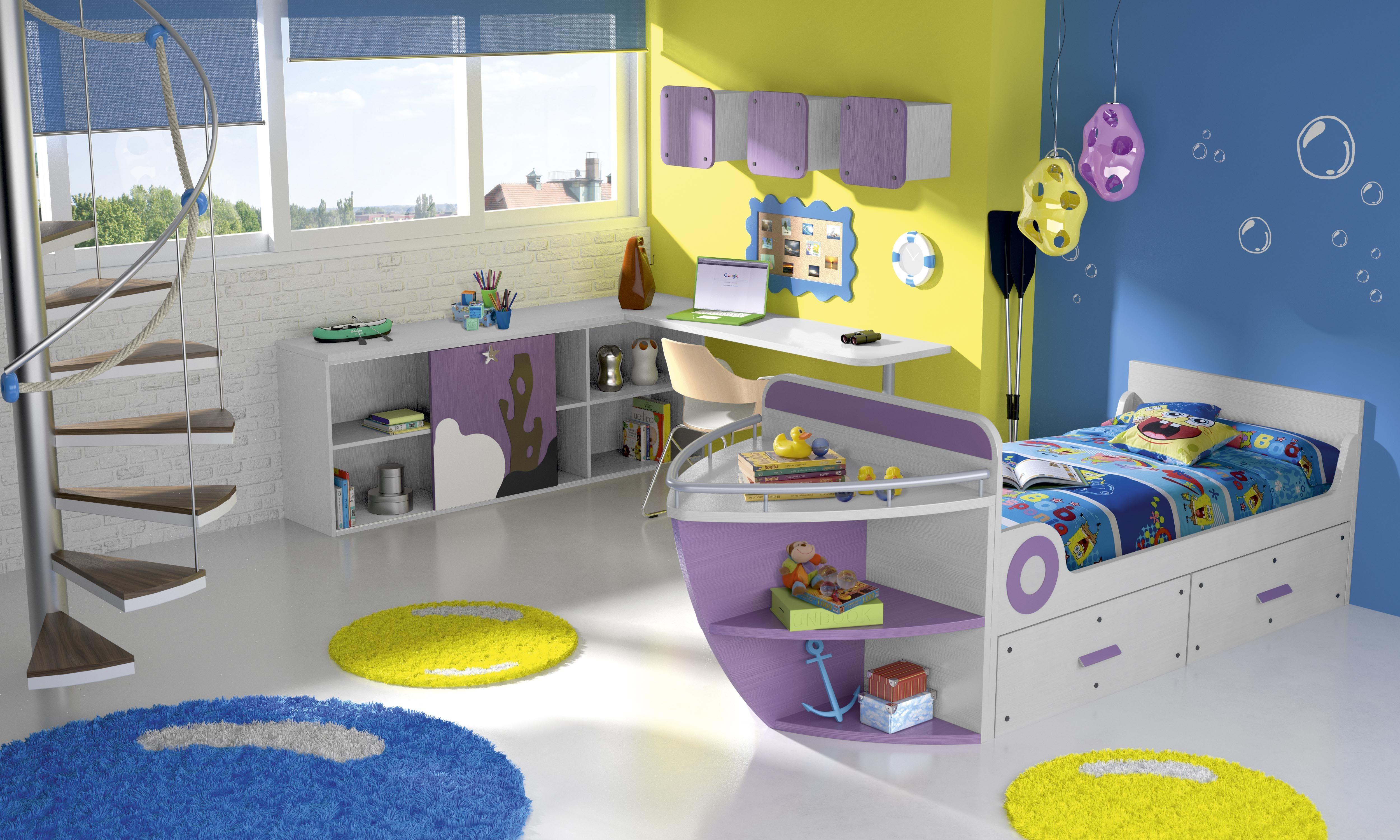 Habitaci n infantil tem tica dibujos animadosbob4 - Dibujo habitacion infantil ...
