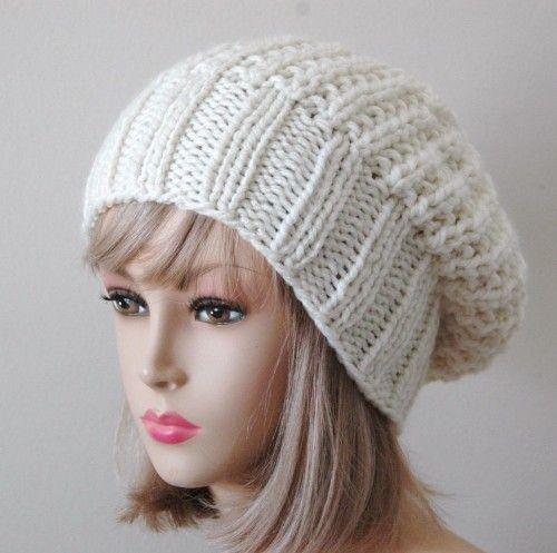 Easy Knit Slouch Hat Patterns Beanie Made A Knitting Patterns For
