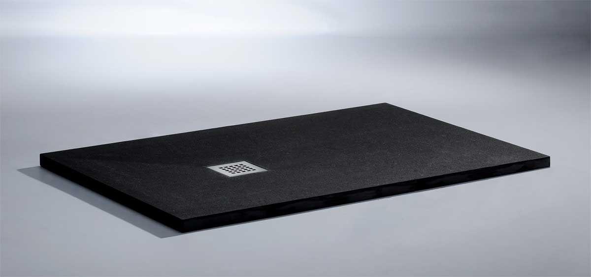 Plato de ducha de diseño extraplano con textura granito. Disponible ...