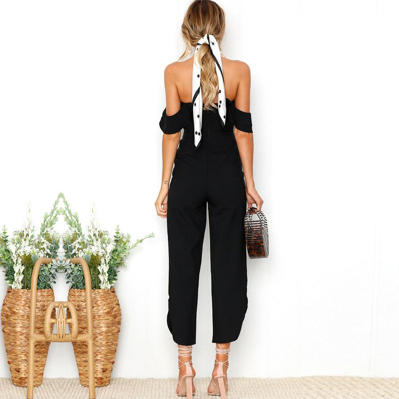 0beb1466e5f Ruffles Strap White Black Jumpsuit Sexy Off Shoulder Split Wide Leg Rompers  ~ IFashionKilla  Shopping online women clothing store