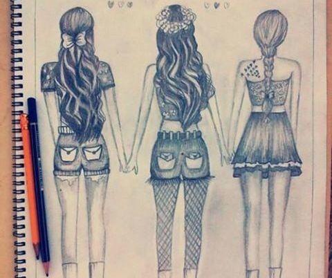 Girls Drawing Mejores Amigas Dibujo Dibujos Bonitos Dibujos Kawaii