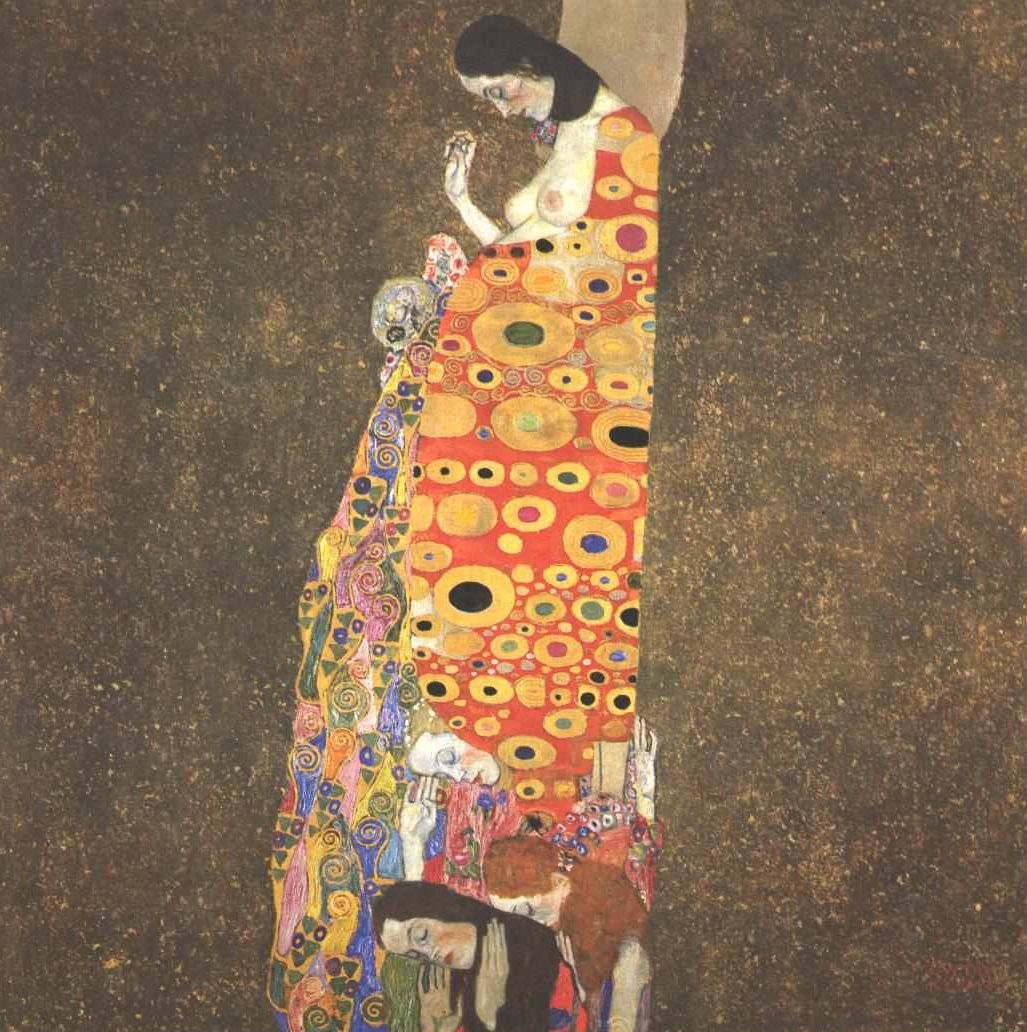 Page: Hope II Artist: Gustav Klimt Start Date: 1907 Completion Date:1908 Style: Art Nouveau (Modern) Period: Golden phase Genre: allegorical...