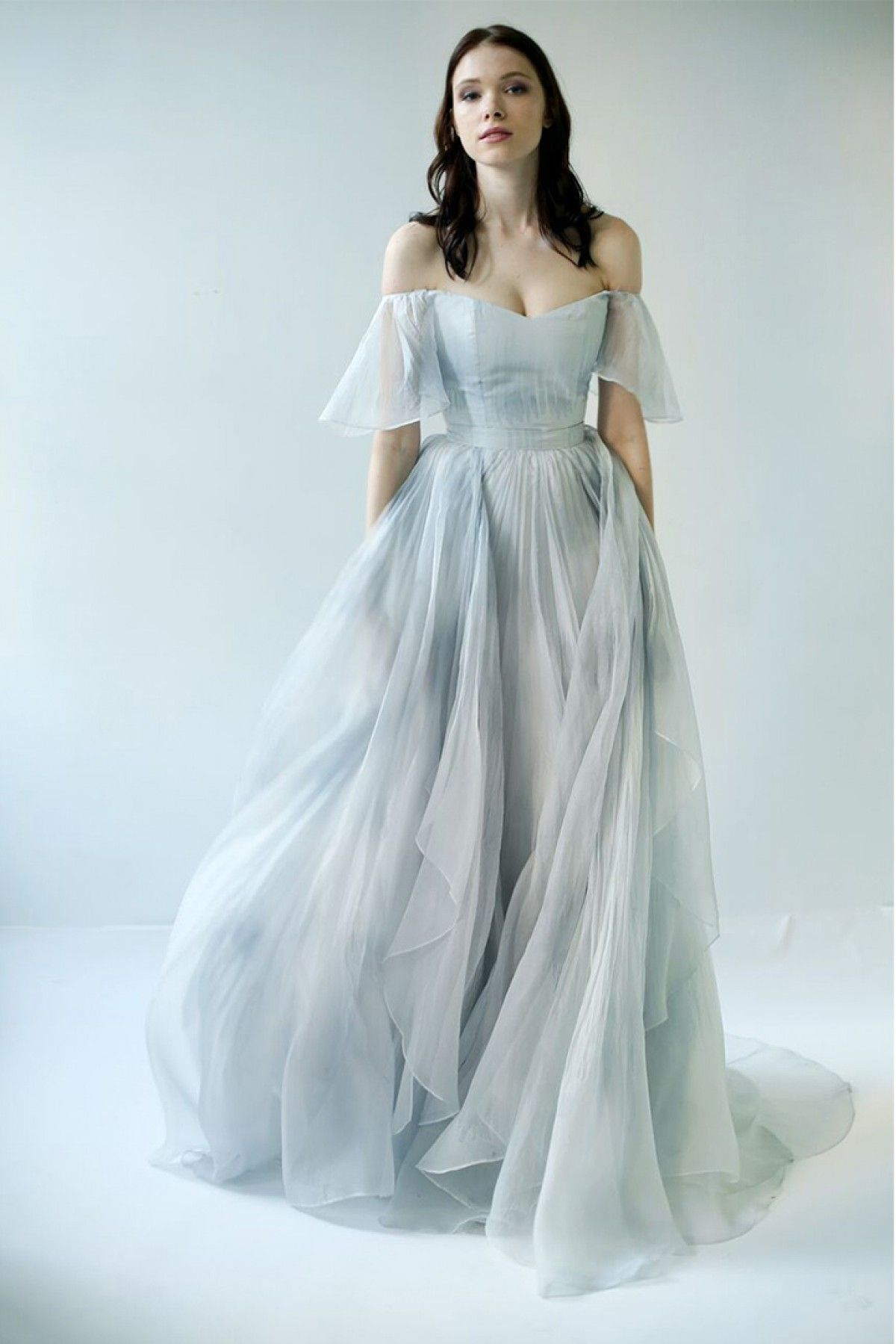 Youdesign organza gown in sky blue colour compliments feminine