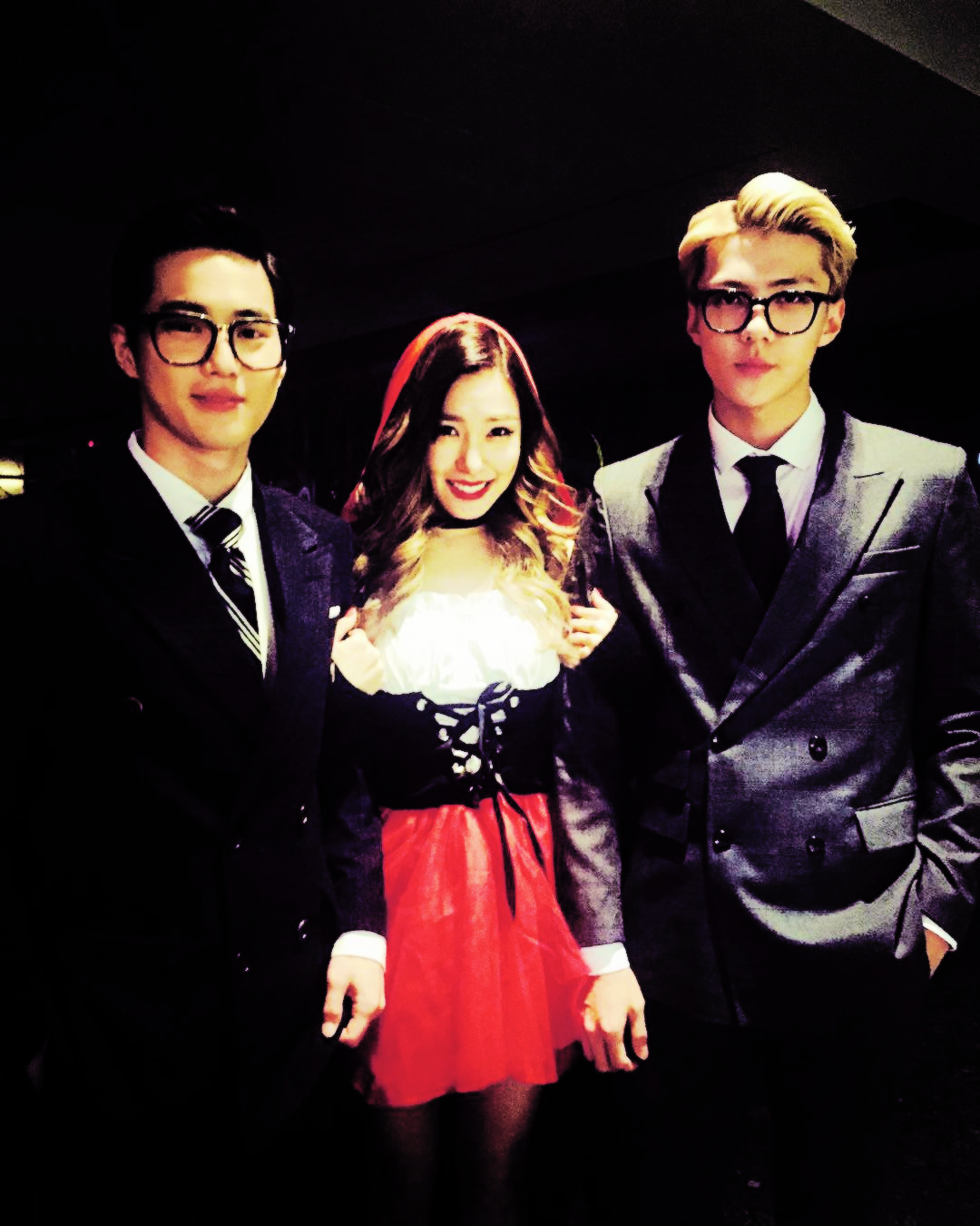 suho and sehun with tiffany from girls generation at the sm halloween party - Girls Halloween Party