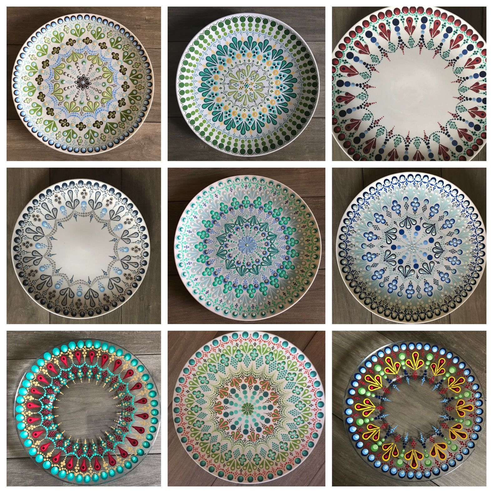 Decorative Dinner Plates Hand Painted Hand Made Decorative Dot Mandala Serving Dinner