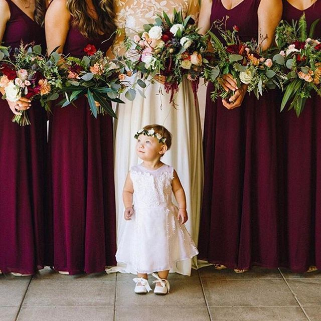 Little Cutie And Her Bridesmaids Dressed In Merlot