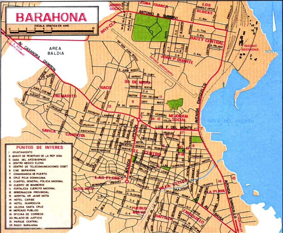 Dominican Republic Barahona Mapa Mapa De Calles Republica Dominicana Mapas
