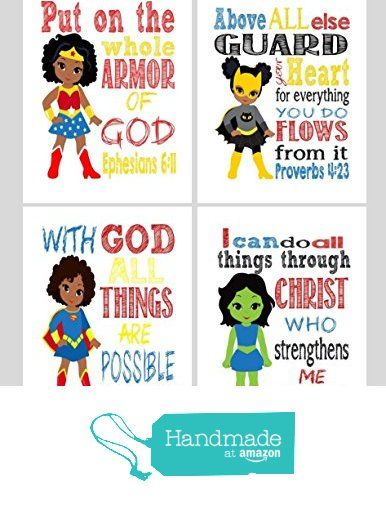 Superhero set of 4 christian wall art print supergirl for Bible verses for kids rooms