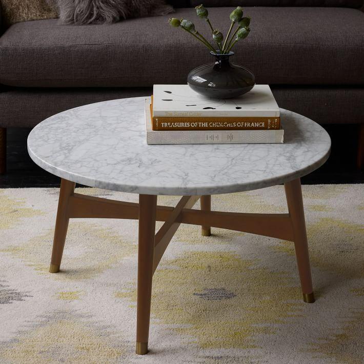 Reeve Mid Century Coffee Table Marble Walnut
